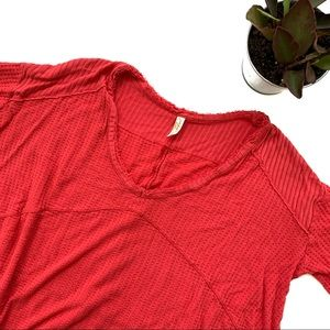 Free People Catalina Red Long Sleeve Thermal Top